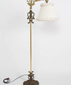 Ornate Rococo Revival Bridge Lamp with Pleated and Ruched off White Silk Shade