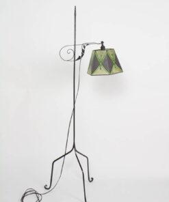 Antique Iron Bridge Lamp with Green mica Shade