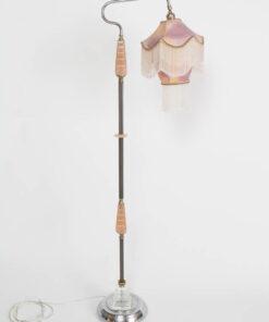Peach Art Deco Bridge Lamp with Custom Silk Shade.