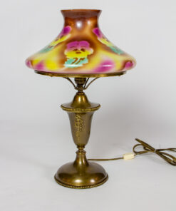 T279: Gas Table Lamp With Pansy Glass Shade