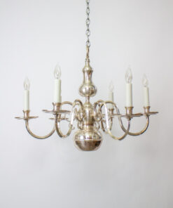 Silverplate Chandelier With Down Light.