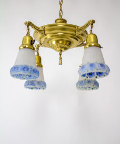 1920s Pan Light With Blue Floral Glass