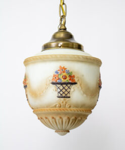 1920's Traditional Hand Painted Glass Pendant