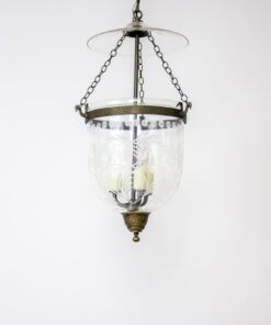Traditional Foliate Cut Glass Bell Jar Lantern