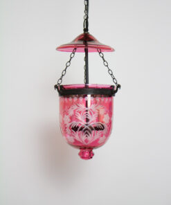 Reproduction Cranberry Glass Bell Jar Lantern