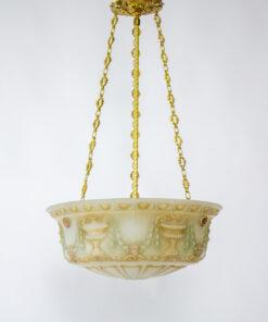 Antique Neoclassical Cast Glass Bowl Light