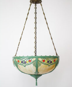 Early 20th Century Hand Painted Panel Glass Bowl Fixture