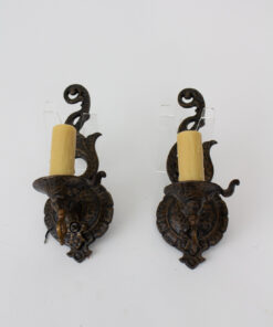 Vintage Storybook Cast Iron Sconces - a Pair