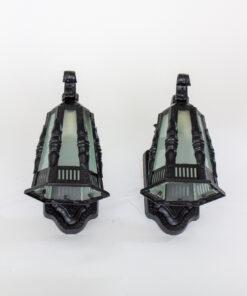 Early 20th Century Black Exterior Lantern Sconces - a pair
