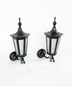 Federal Style Black Exterior Lantern Sconces - a pair
