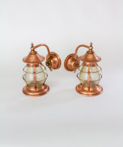 Arts and Crafts Copper Exterior Sconces with Amber Glass