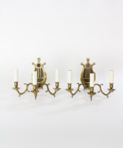 Pair of Antique Three Arm Lyre Back Sconces