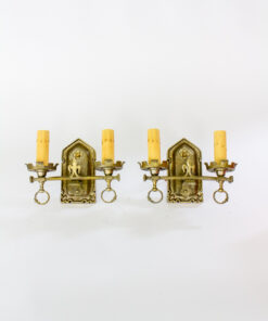 Pair of Lion Electric Double Arm Brass Sconces